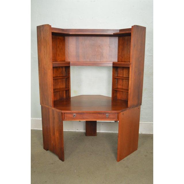 Stickley Solid Cherry Corner Desk w/ Bookcase Top - Image 2 of 10