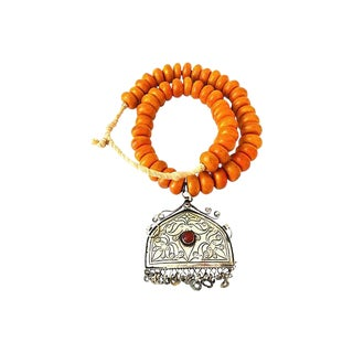 African Amber Currency Beads Necklace