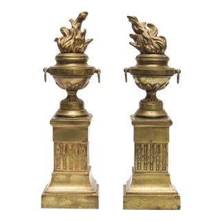 19th Century Brass Flame Torch Bookends - A Pair