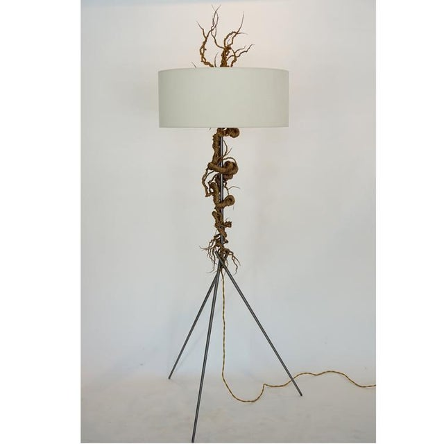 Twisted Brass Wire / Tripod Floor Lamp - Image 2 of 6