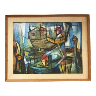 Clare Jordan Abstract Cubist Landscape Oil Painting