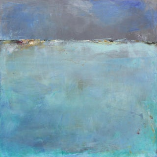 Paul Ashby Abstract Landscape in Blues Square Painting