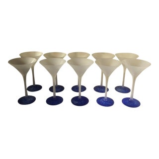 Blue & Frosted Martini Glasses - Set of 10