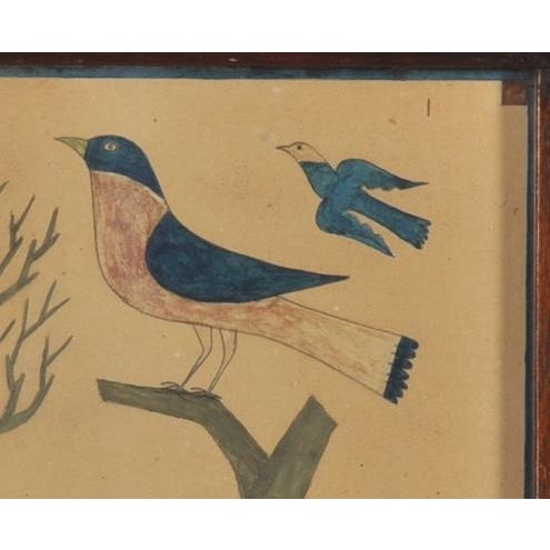 Image of Painting of a Blue & Red Bird Perched on a Stump
