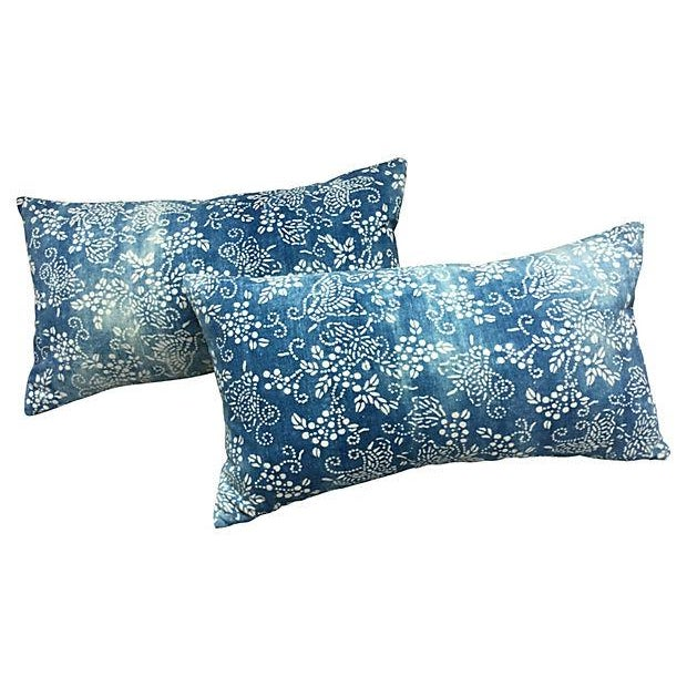 Faded Blue & White Batik Pillows - A Pair - Image 1 of 5