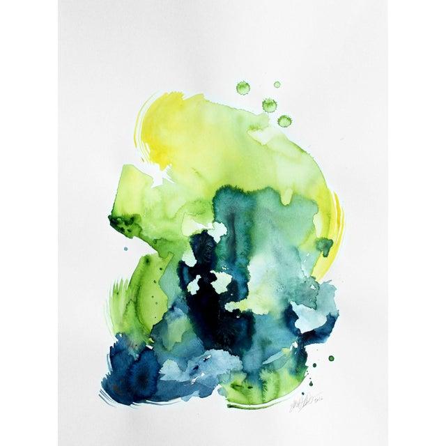 "Ellen Sherman ""Verdant 2"" Watercolor Painting - Image 1 of 3"
