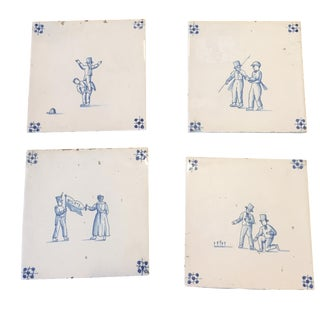 19th-Century Delft Tiles - Set of 4