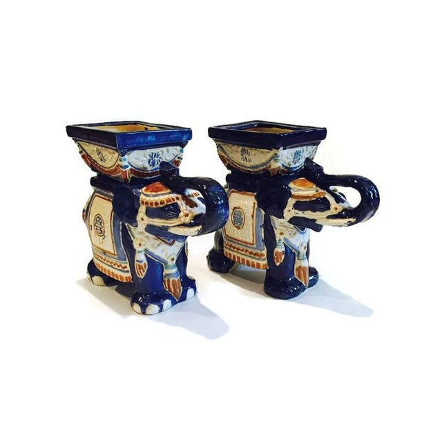 1970s Vintage Ceramic Elephant Planters - A Pair - Image 6 of 7