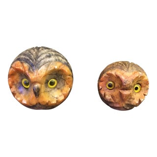 Mid-Century Italian Hand Carved Alabaster Owls - A Pair