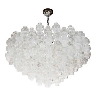 Modernist Opalescent and Clear Murano Glass Barbell Chandelier