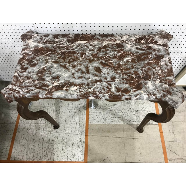 Portuguese Oak Marble Top Console Table - Image 5 of 6