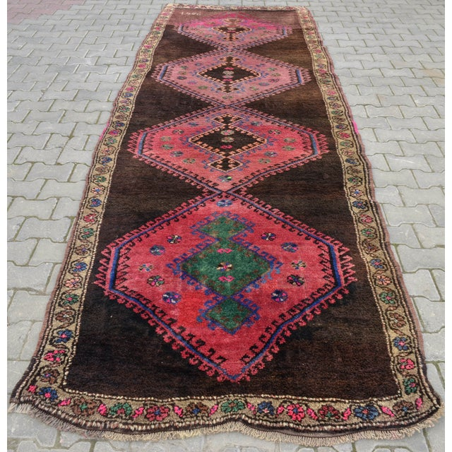 Hand Knotted Turkish Runner Rug - 4′6″ × 13′3″ - Image 6 of 11