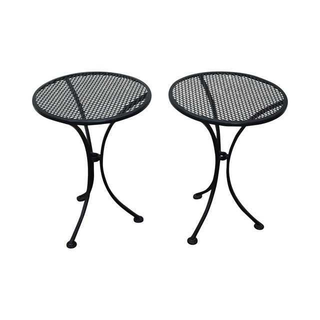 Round Metal Patio Side Tables - A Pair - Image 1 of 10