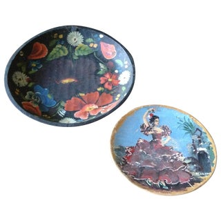 Vintage Painted Wood Decorative Plates - Pair