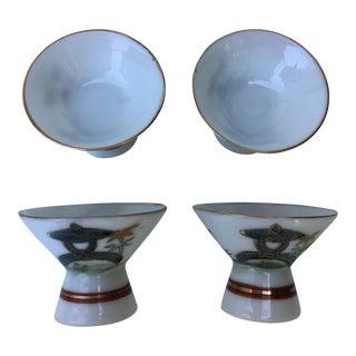 Vintage Japanese Blue Pagoda Lithophane Sake Cups- Set of 4