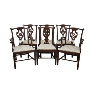 Henkel Harris Solid Mahogany Chippendale Style Dining Chairs - Set of 6