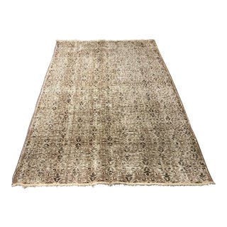 "Vintage Turkish Distressed Oushak Rug- 4'4"" x 6'10"""