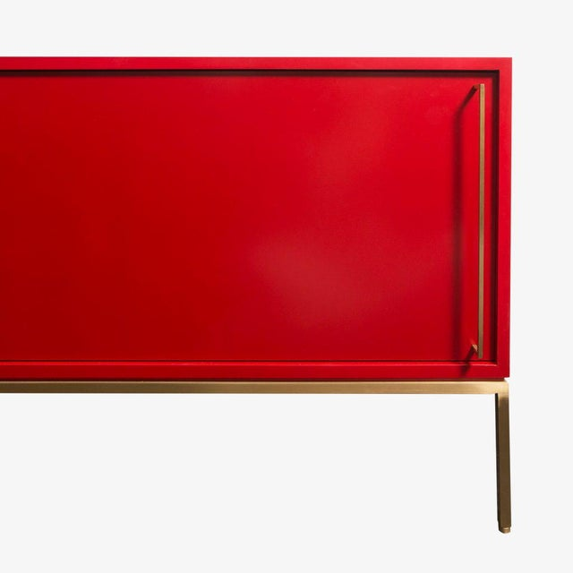 Customizable Re: 379 Grass Green Lacquered Credenza on Brass base - Image 8 of 9