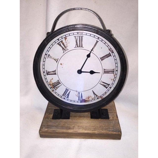Vintage Industrial Barnwood Base Clock - Image 2 of 5