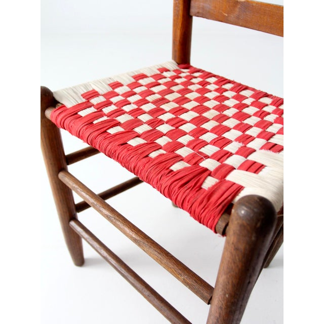 Antique Ladder Back Upholstered Seat Chair - Image 8 of 8