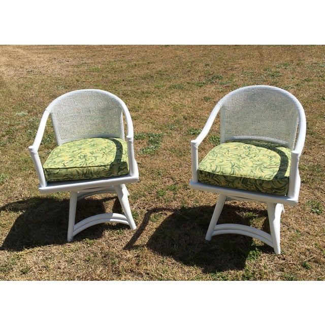 Ficks Reed Cane Swivel Chairs - A Pair - Image 2 of 10
