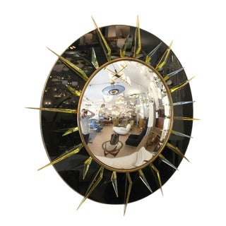 Large Brass and Glass Convex Mirror by Studio Ghiro, Italy, 2010