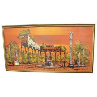 1950's Orange Ruins Painting by V Ran Raymor