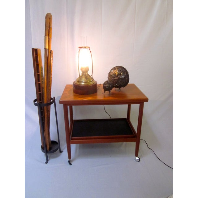 Antique Wired Brass Wood Hurricane Lamp - Image 3 of 9