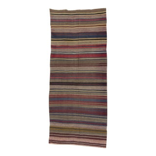 Handwoven Vintage Striped Turkish Kilim Rug - 5′ × 11′7″