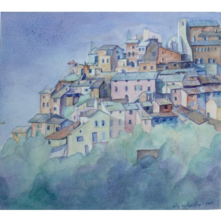 Village in Italy, Watercolor Painting