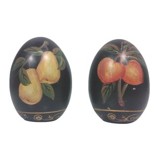 Hand-Painted Black Egg Decorative Objects - Pair