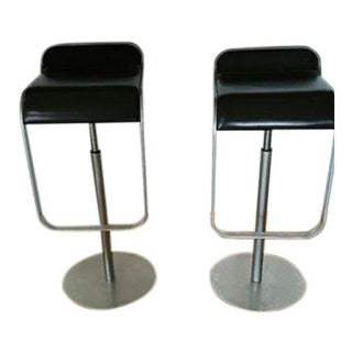 LEM Chocolate Leather Piston Stools from Design Within Reach - A Pair