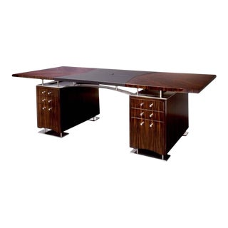 Dakota Jackson French Polished Ebony Maccassar Art Deco Style Executive Desk.