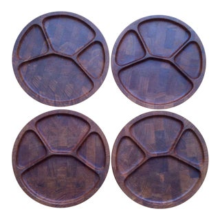 Digsmed Danish Modern Staved Teak Fondue Plates - Set of 4