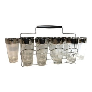 Dorothy Thorpe Silver Ombré Glasses With Caddy - Set of 11