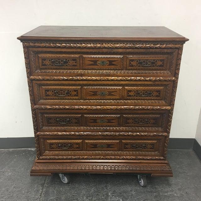 Vintage Carved & Inlaid 4 Drawer Dresser - Image 2 of 9