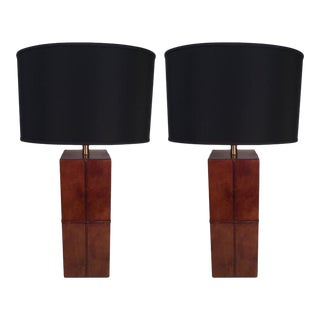Stitched Leather Table Lamps - a Pair