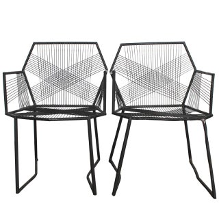Hand-Welded Geometric Metal Armchairs - A Pair