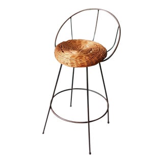 Mid-Century Wrought Iron and Wicker Bar Stool