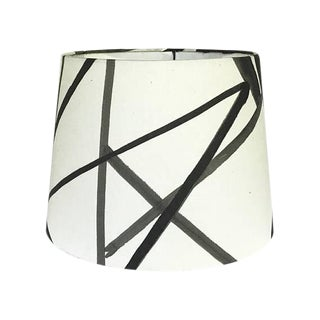New, Made to Order, Kelly Werstler Channels Fabric Ebony & Ivory, Large Drum Lamp Shade