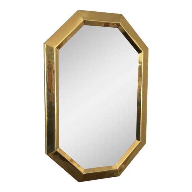 Beveled brass octagonal mirror chairish for Octagon beveled mirror