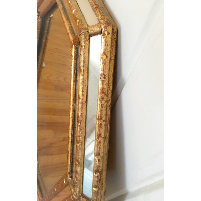 Hollywood Regency Faux Bamboo Gold Mirror - Image 3 of 11