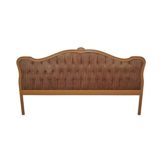 Vintage French Louis XV Style Tufted Upholstered King Headboard
