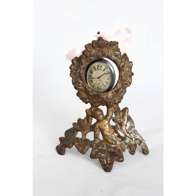 Image of 19th Century Antique Victorian Gilded Metal Pocket Watch or Locket Holder