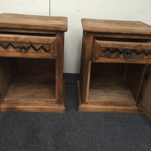 Patterned Wooden Nightstands - A Pair - Image 3 of 5