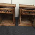 Image of Patterned Wooden Nightstands - A Pair