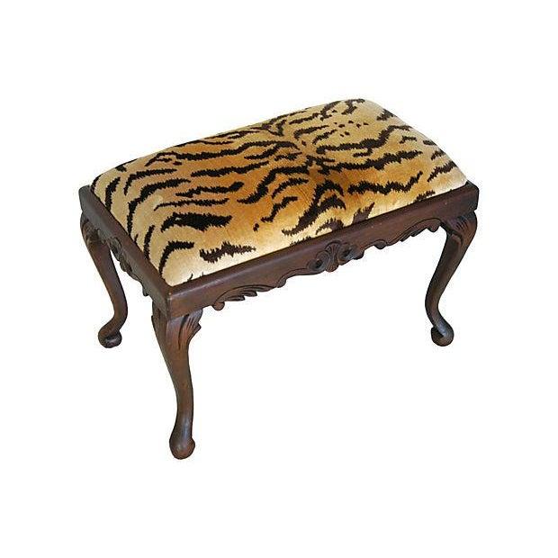 Vintage Scalamandre Le Tigre Silk Velvet Bench - Image 7 of 8