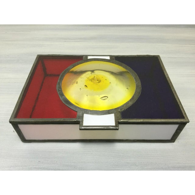 Vintage Mondrian Colored Blown Glass Box - Image 2 of 9