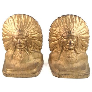 Native American Cast Iron Bookends - A Pair