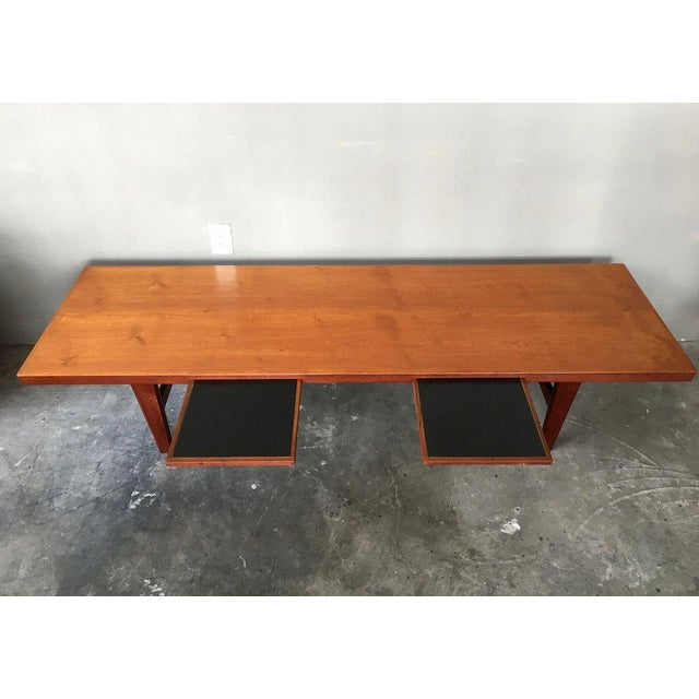 Danish Modern Coffee Table Bench W/ Slide Out Trays - Image 4 of 7